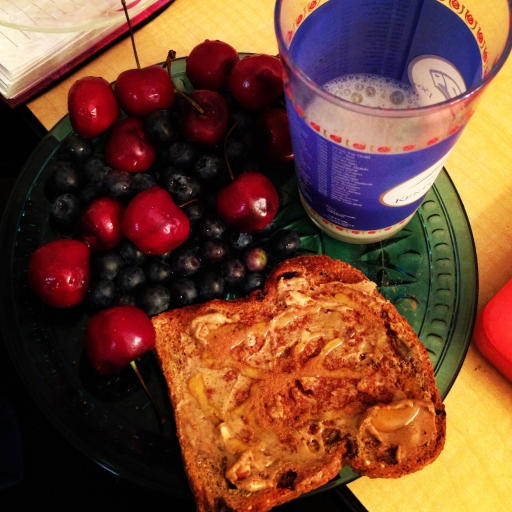 Whole wheat toast with peanut butter is a great pairing of carbohydrates and protein to help you power through a workout.