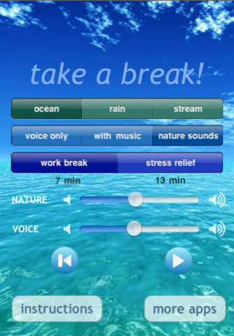 The Take a Break App makes finding time to meditate and actually doing it super easy.