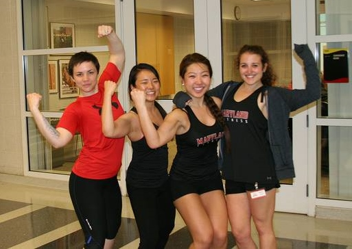UMD Group Fitness Instructors flexing their muscles! We're here to help you feel comfortable fitness classes. Don't be afraid to reach out and ask us for help.